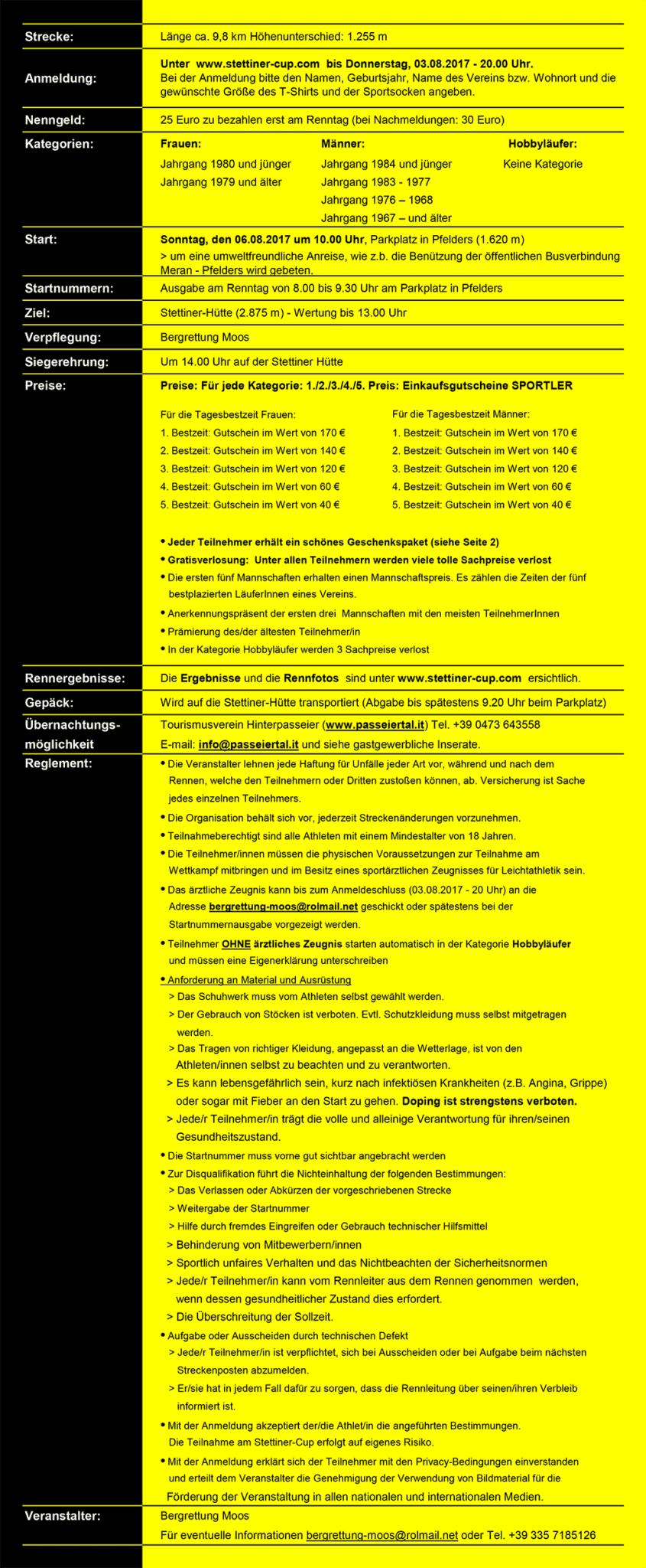 Rennablauf Reglement 2017 Stettiner Cup